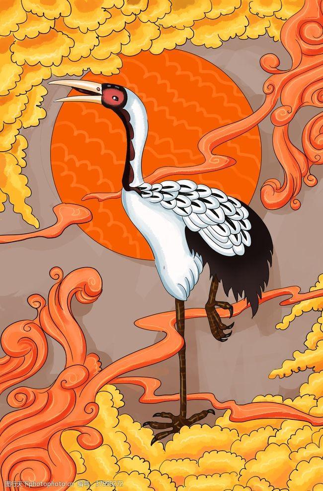 仙鹤传统国风古风插画背景素材
