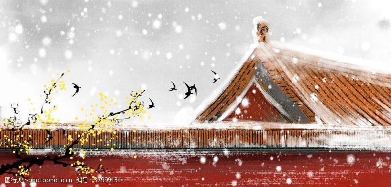 城墙故宫古风传统插画背景素材