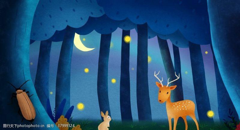背景素材森林小鹿夜晚清新插画背景