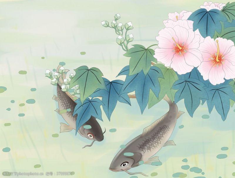 山水鱼群花朵国风插画背景素材