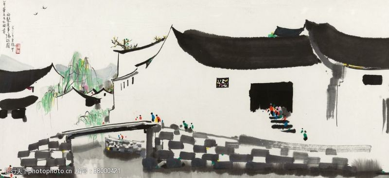 350dpi中国风水墨写意画