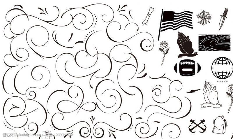 星条旗黑白矢量古典波浪花边
