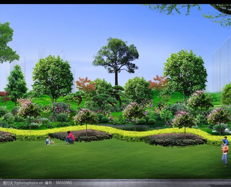 景观规划厂区VD型绿化效果图