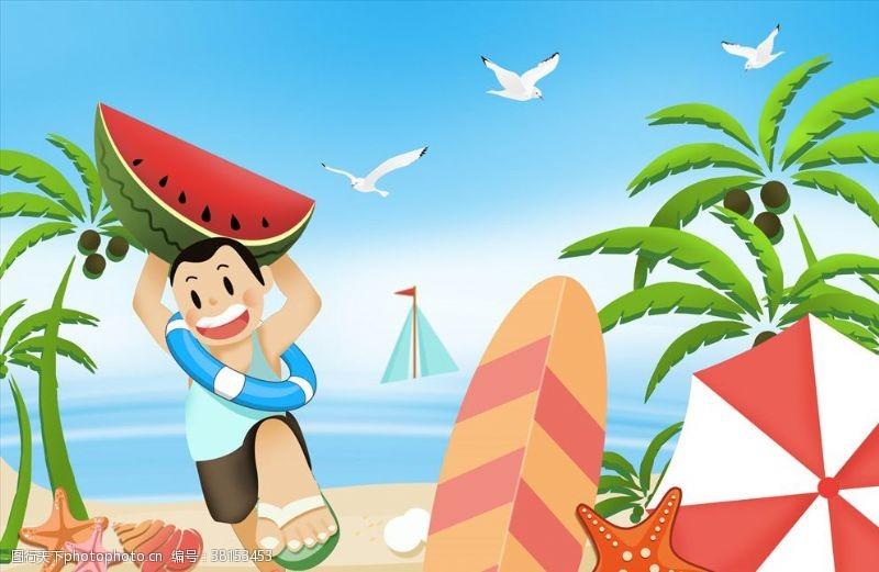 快乐童年海滩玩耍