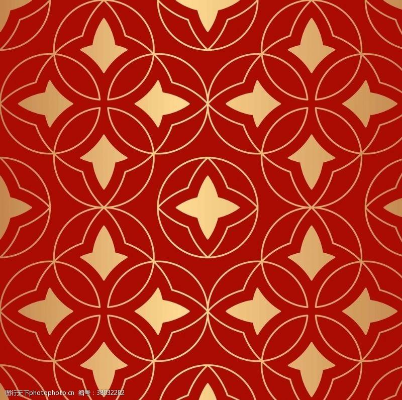 矢量花纹背景奢华风格的金色东方无缝图案