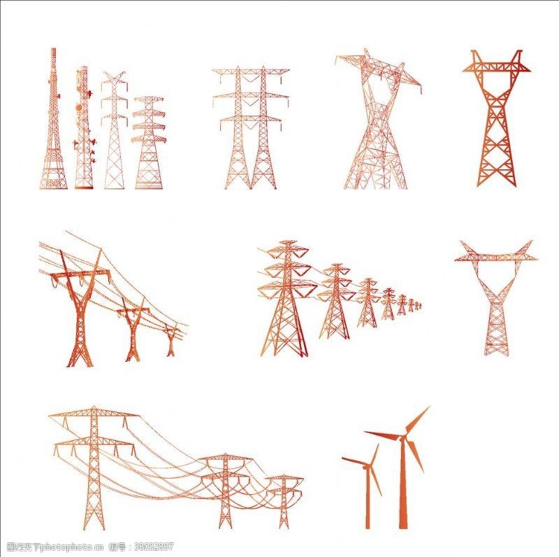 设计电塔元素电力矢量