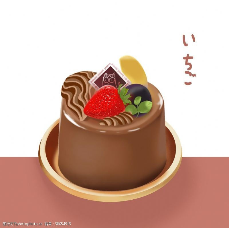 手绘草莓巧克力布丁蛋糕