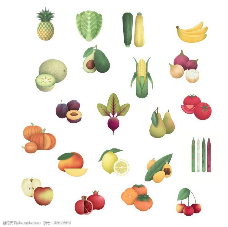 水果蔬菜矢量psd免抠素材合集