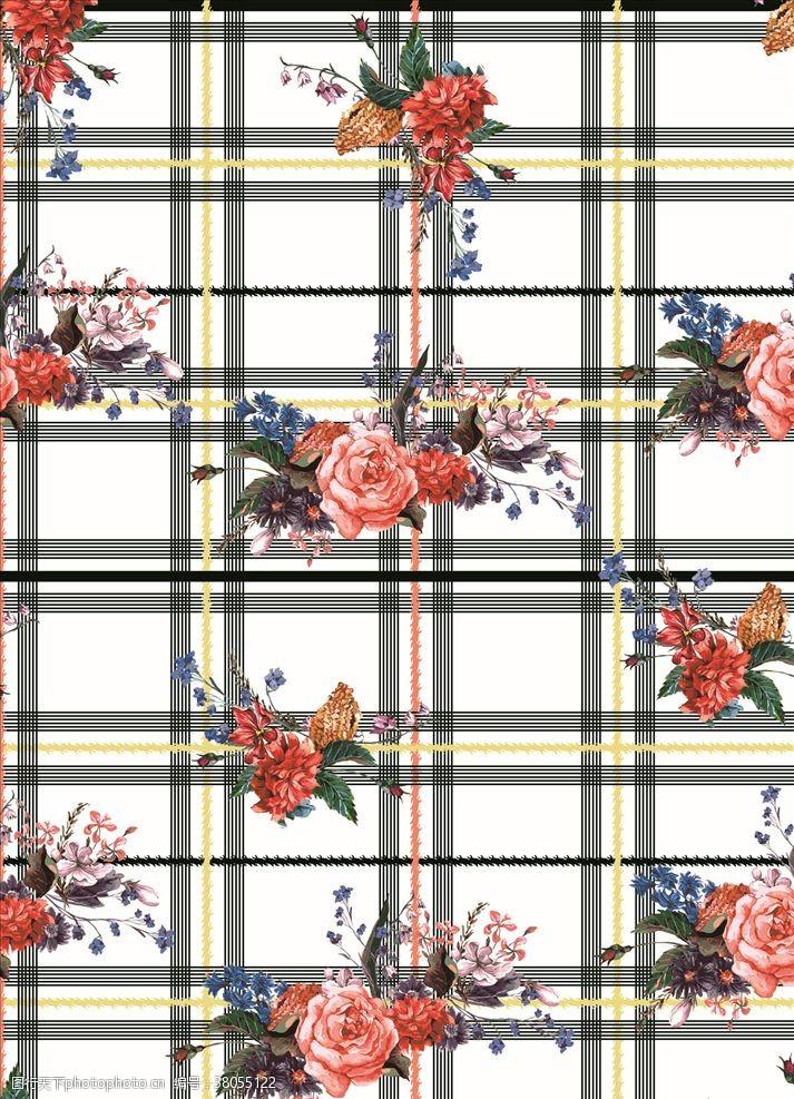 几何图案分层格子花朵