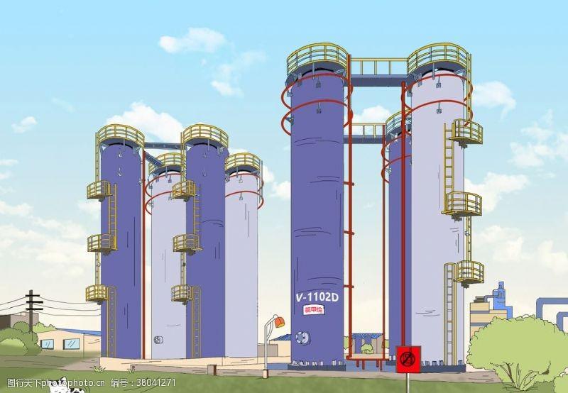 重工业化工行业生产厂漫画