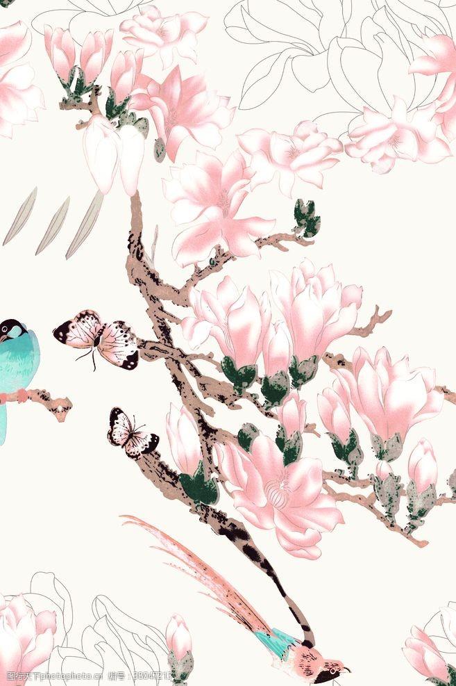 设计图案素材数码印花玉兰鸟