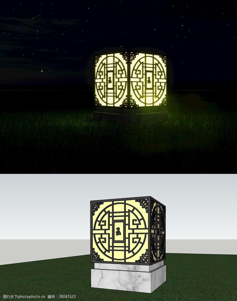 草图大师中式景观灯