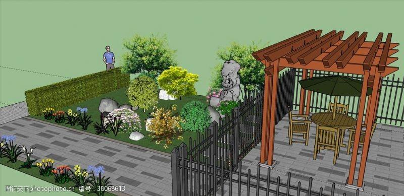 草图大师景观庭院效果图