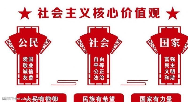 政府文化墙社会主义核心价值观形象墙