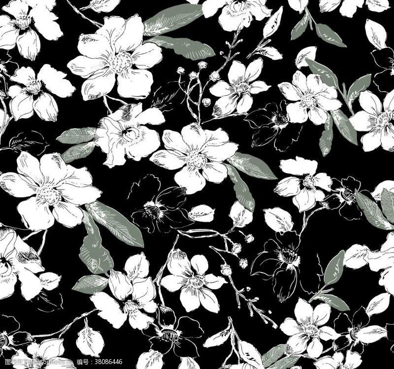 设计图案素材数码印花线条花白色花