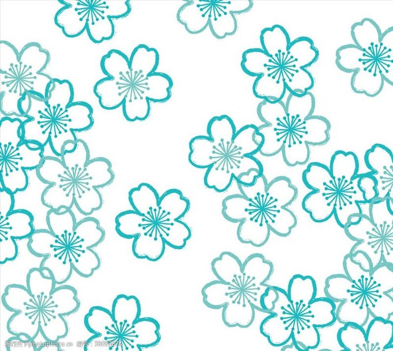绿松石樱花图案