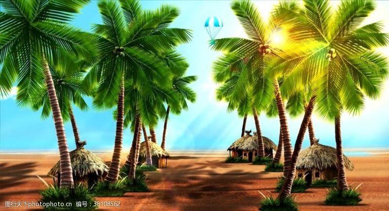 飘舞椰子树热带舞蹈背景