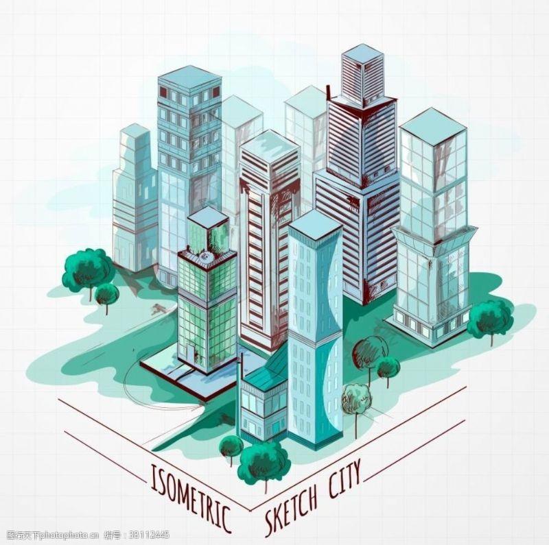 景观规划城市手绘鸟瞰素材