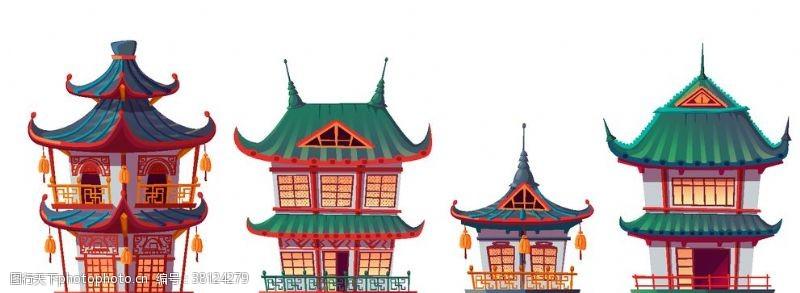 展板底板古代宫殿房屋矢量合集