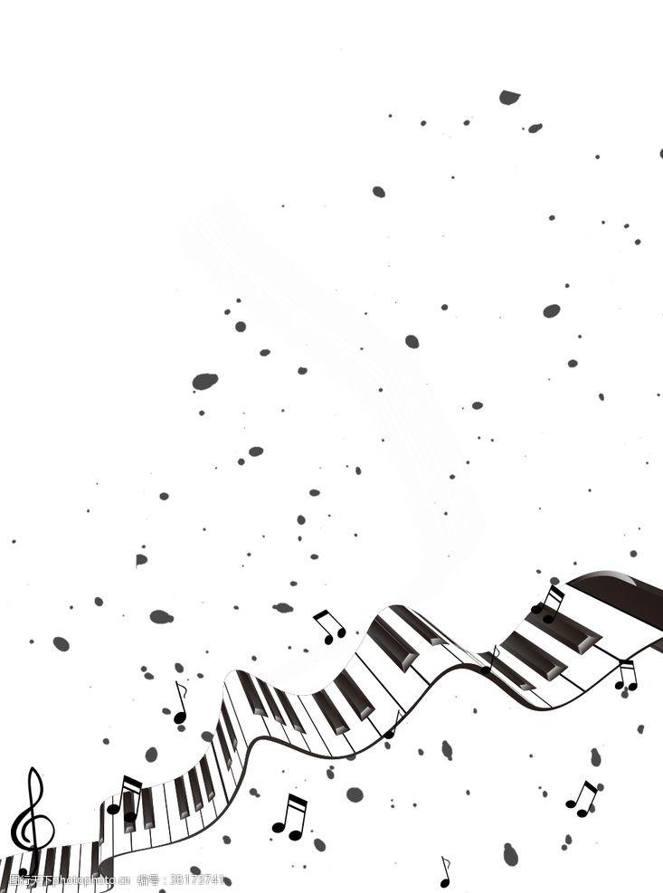 休止符琴键音符黑白风海报背景