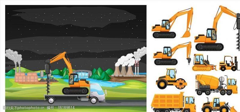 草图大师施工工地机械设备