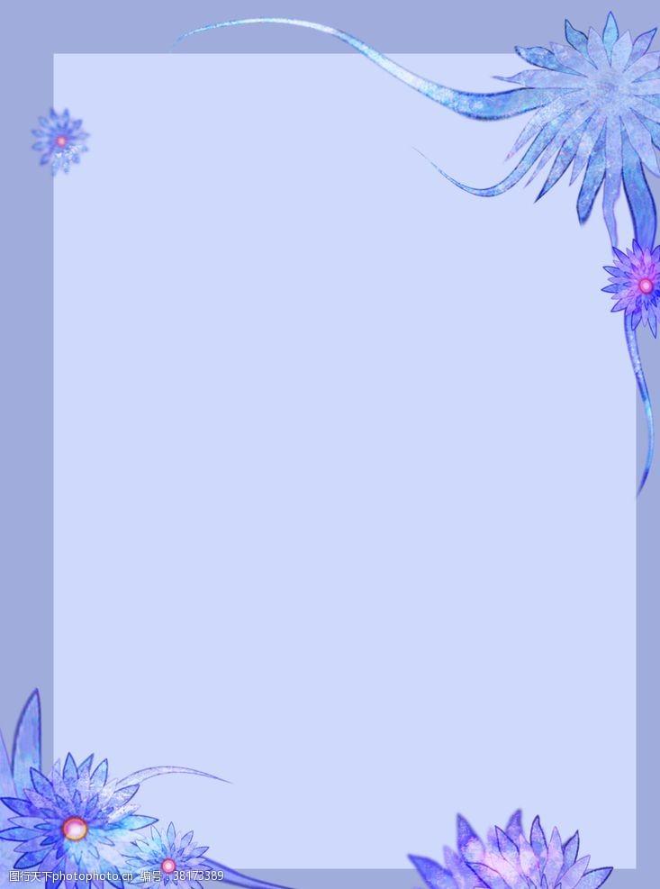 淡紫色背景手绘简约花卉背景