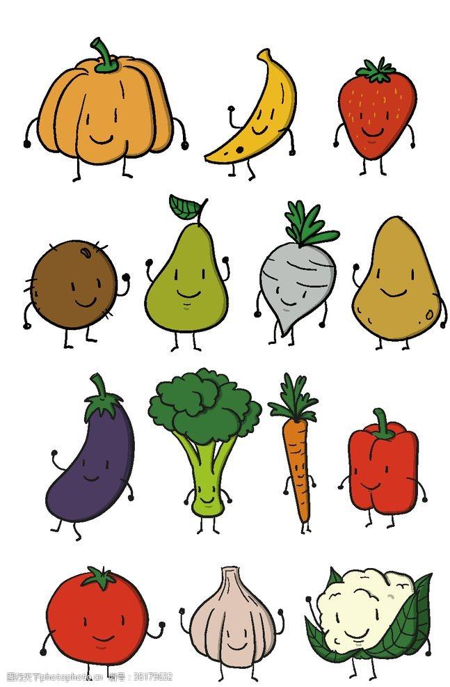 动漫水果蔬菜图案