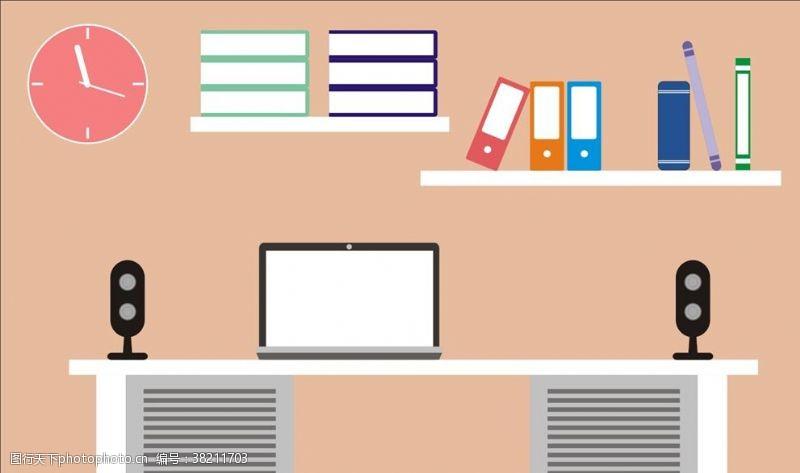 电脑房音响书本书架