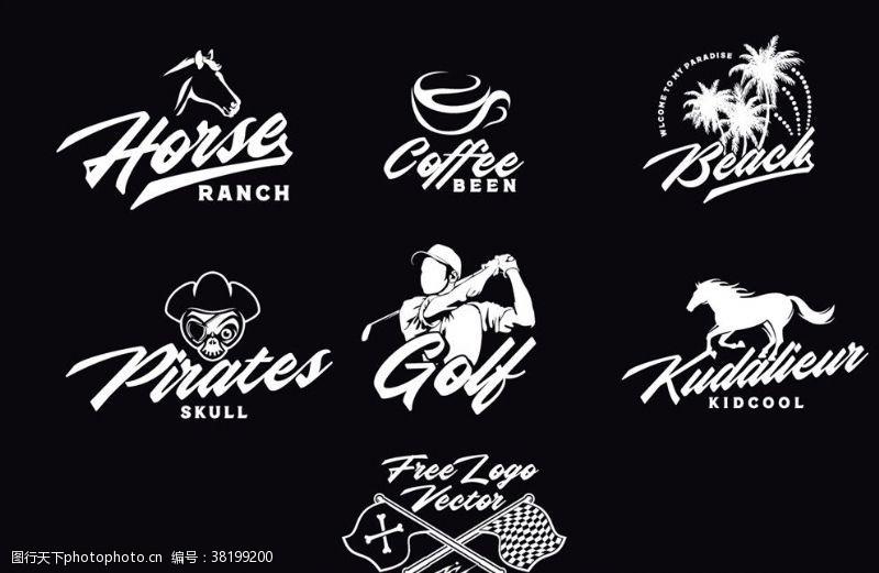高尔夫挥杆黑白矢量刷子艺术logo设计