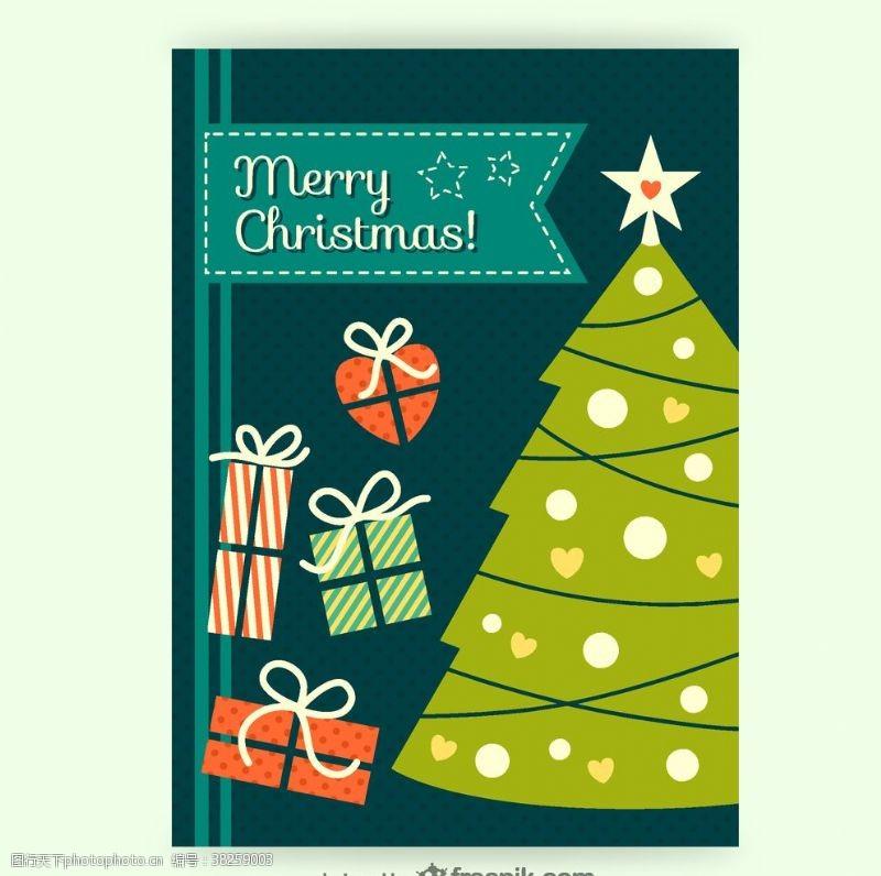 圣诞卡片复古圣诞贺卡矢量