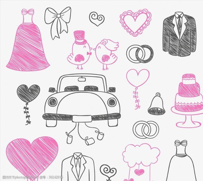 结婚婚纱礼服黑色婚纱涂鸦