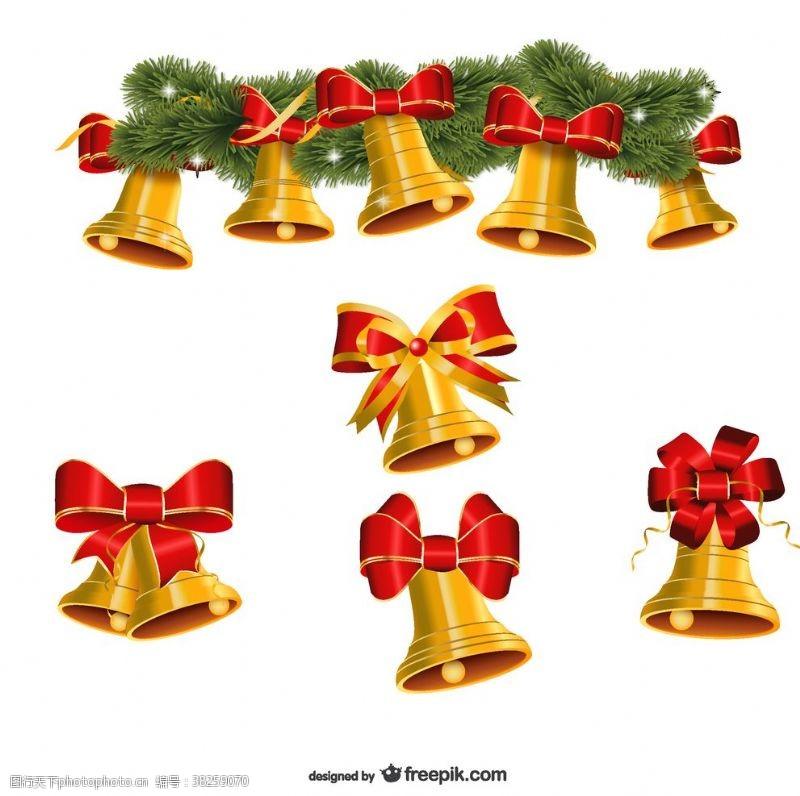 金色圣诞钟声向量