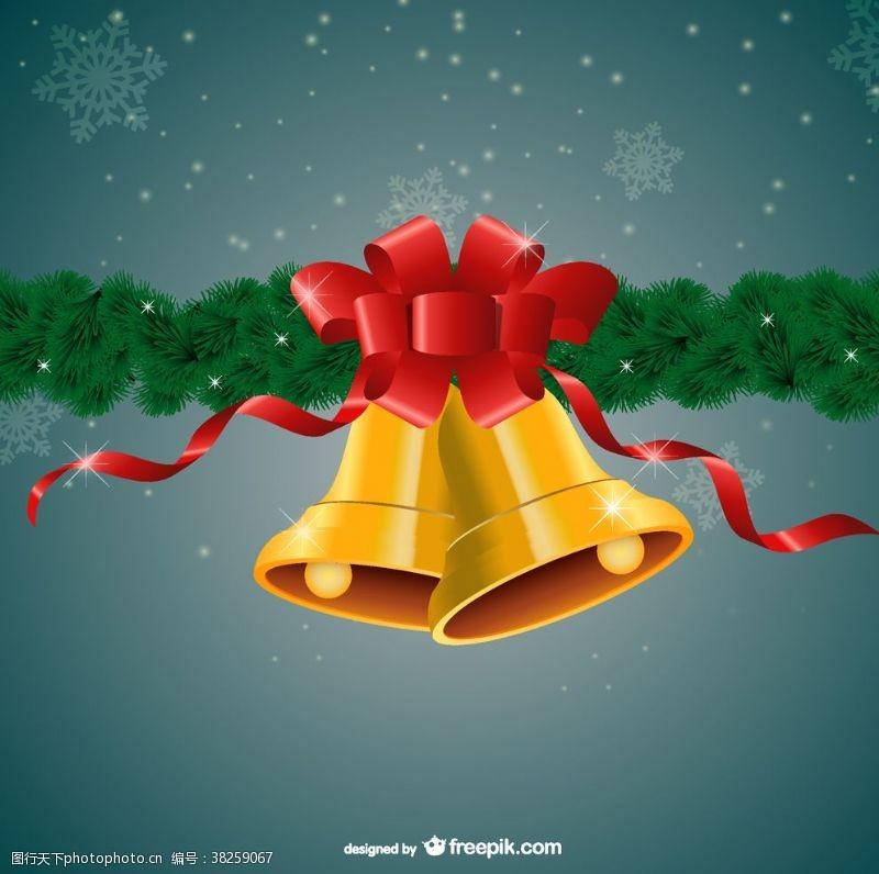圣诞快乐金色铃铛