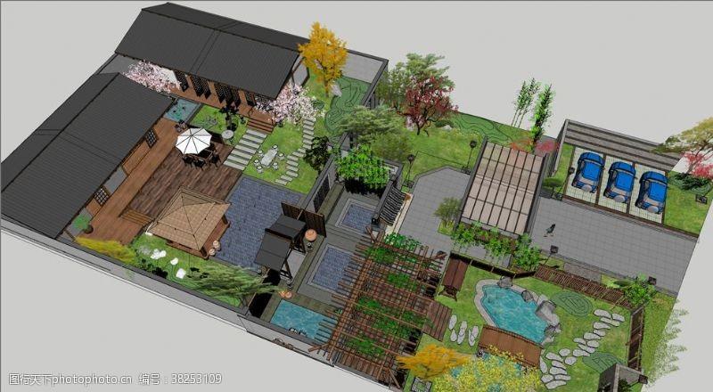 草图大师原创2亩庄园庭院
