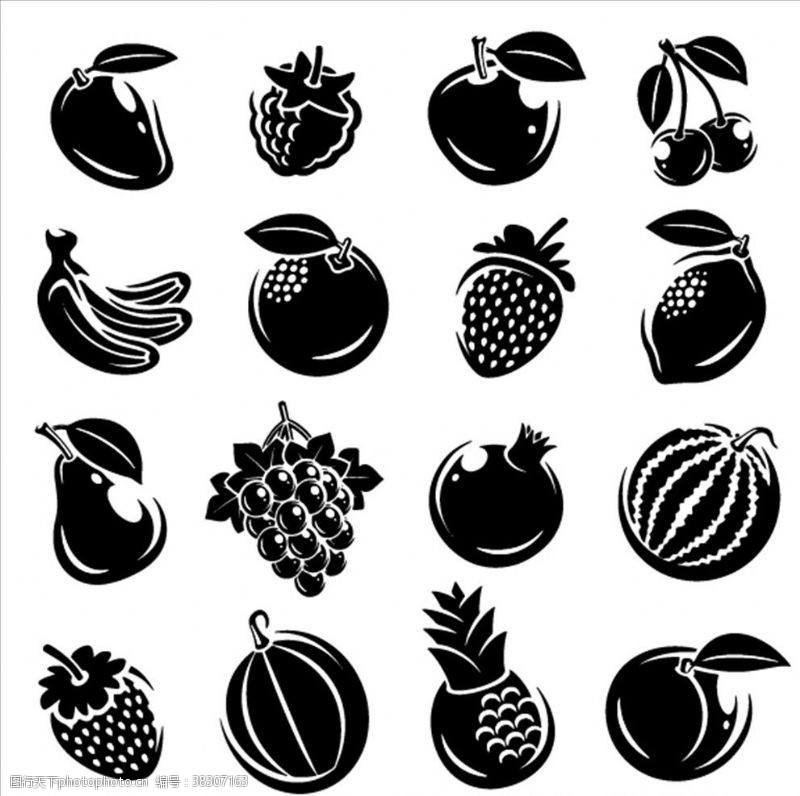 各种水果矢量剪影元素