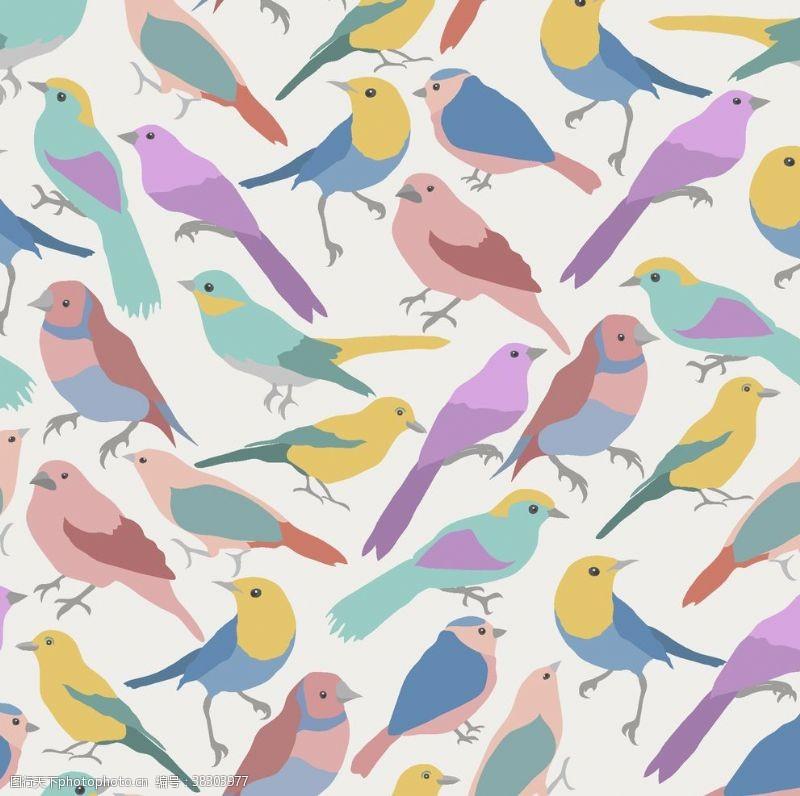花式背景小鸟无缝背景