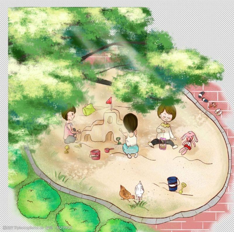 青梅竹马夏日清新儿童玩耍沙池
