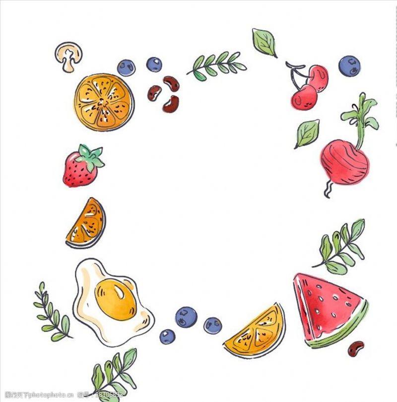 水果西瓜花边