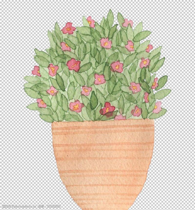 手账素材手绘盆栽