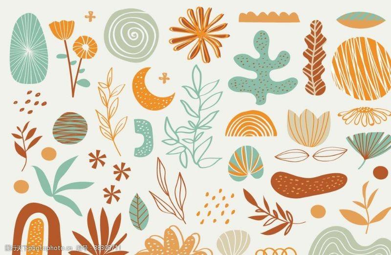 广告杂志手绘植物设计元素