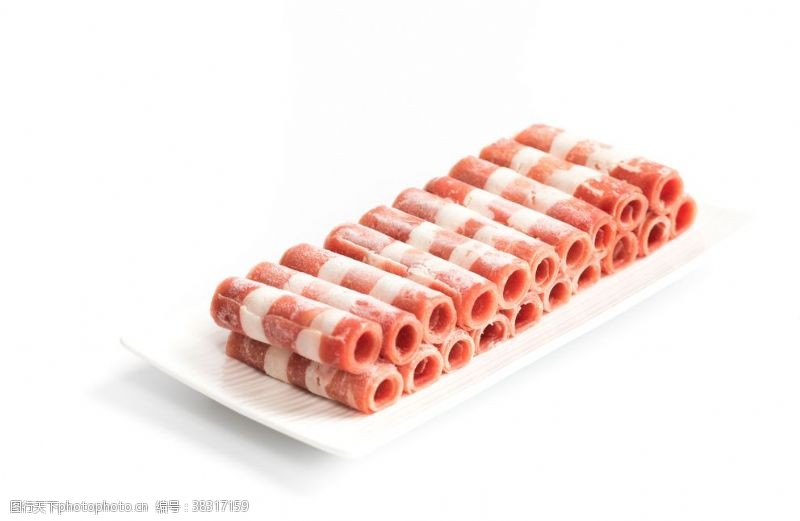 素材图片羊肉卷白底素材