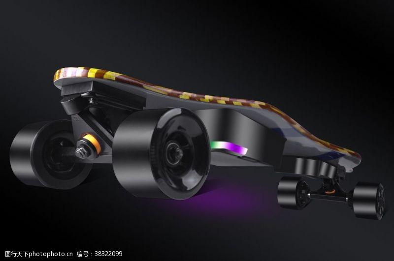 卡通图案滑板车产品精修效果图