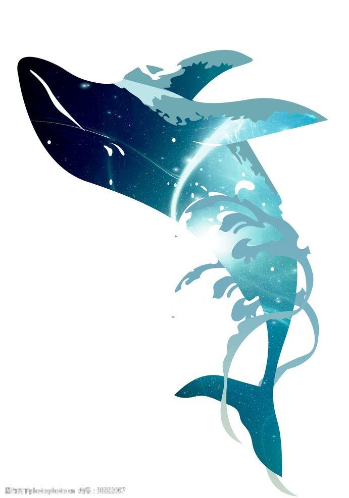 卡通图案卡通漫画鲸鱼底色背景墨迹