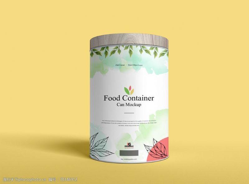 psd食品罐子包裝樣機