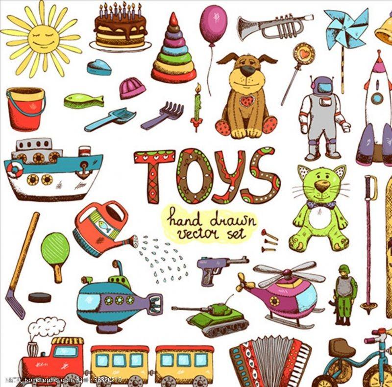 手风琴手绘儿童玩具矢量素材