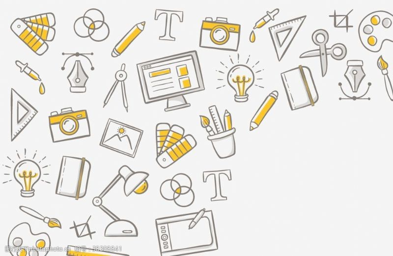 广告杂志手绘物品设计元素