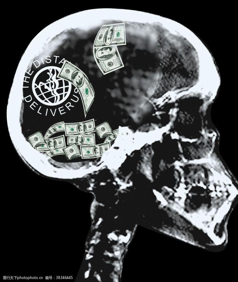 卡通图案骷髅美金金钱欲望黑白底片