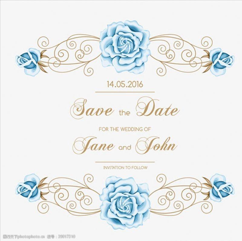 矢量图 蓝色花卉婚礼邀请函图片