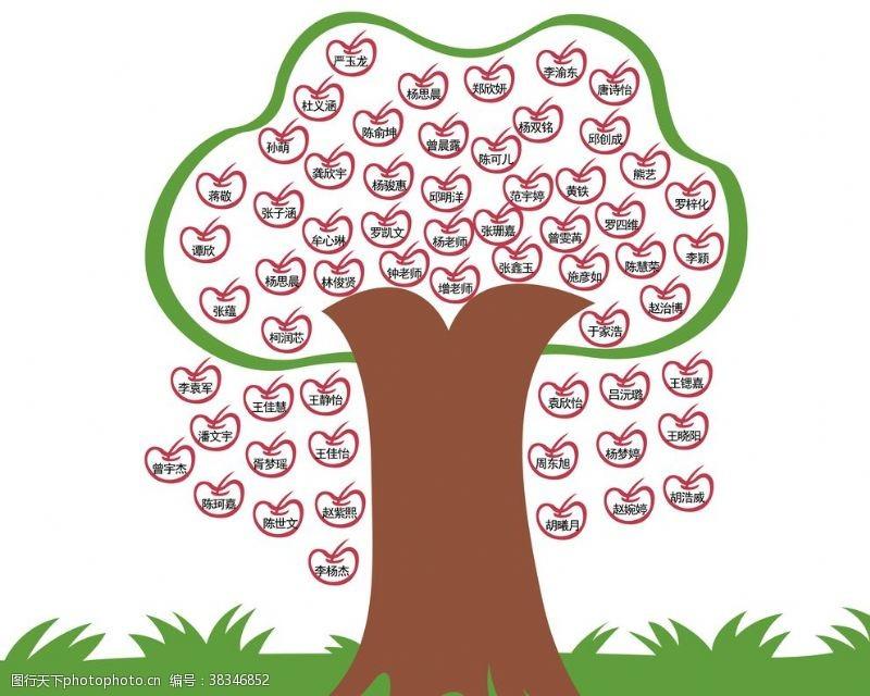 卡通图案名字树照片树苹果创意卡通漫画