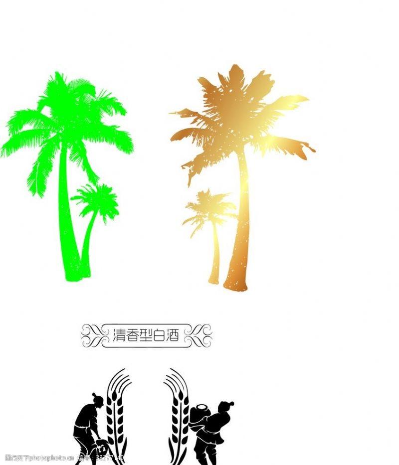 植物剪影树剪影